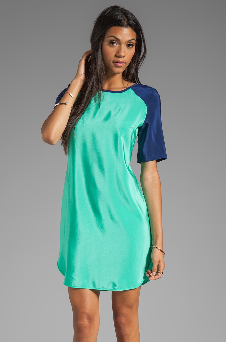 Amanda Uprichard Paige Dress in Mint/Navy