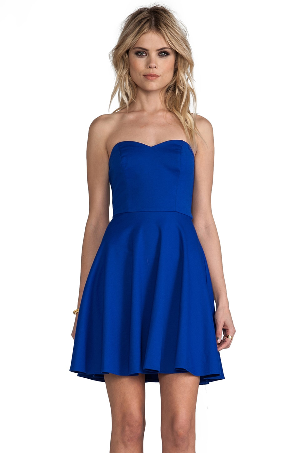Amanda Uprichard Strapless Ponti Dress in Royal