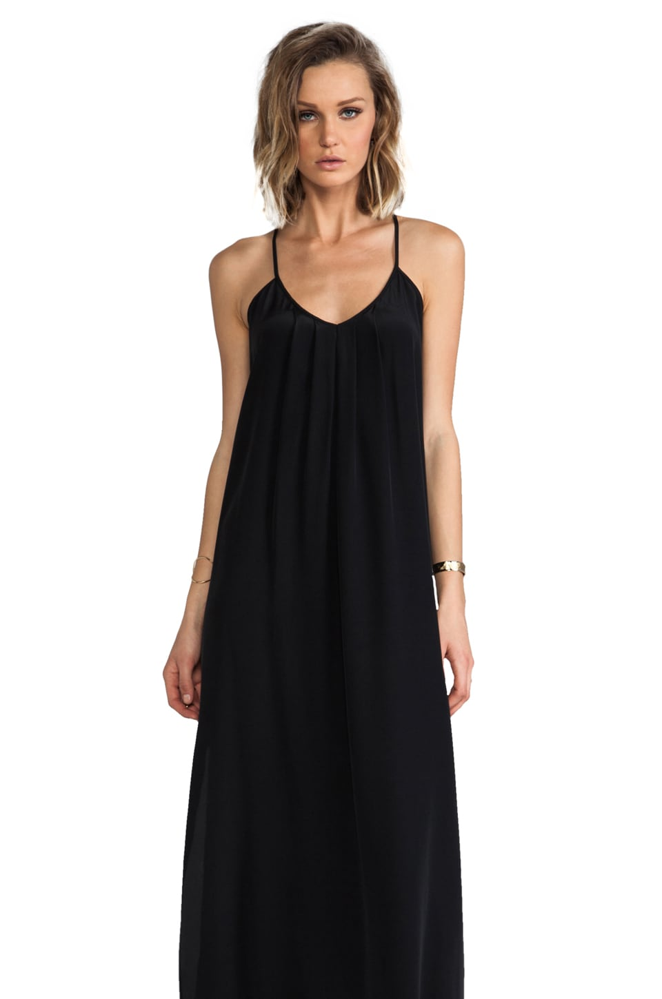 Amanda Uprichard Button Back Maxi Dress in Black