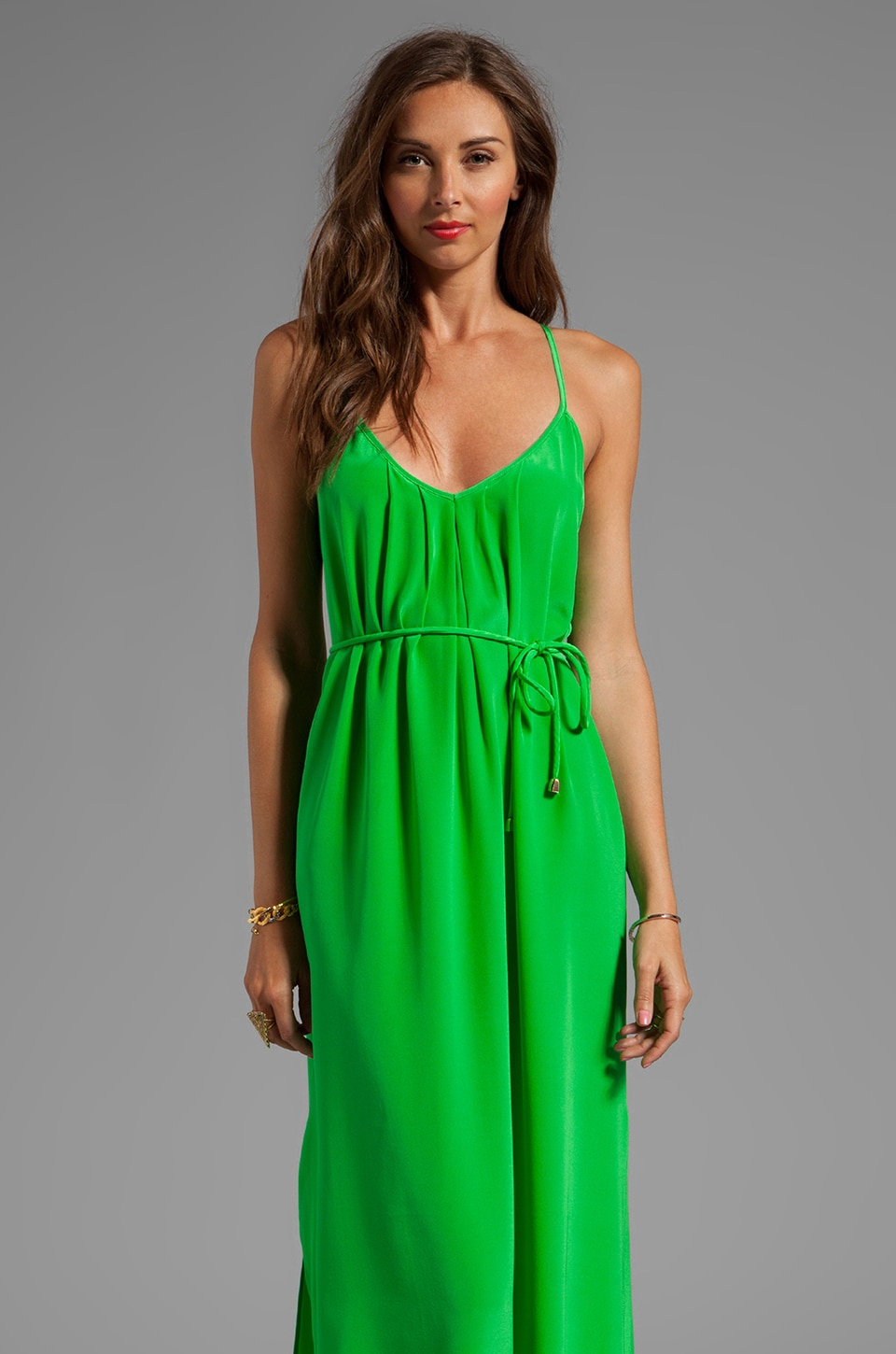 Amanda Uprichard Button Back Maxi Dress in Grass