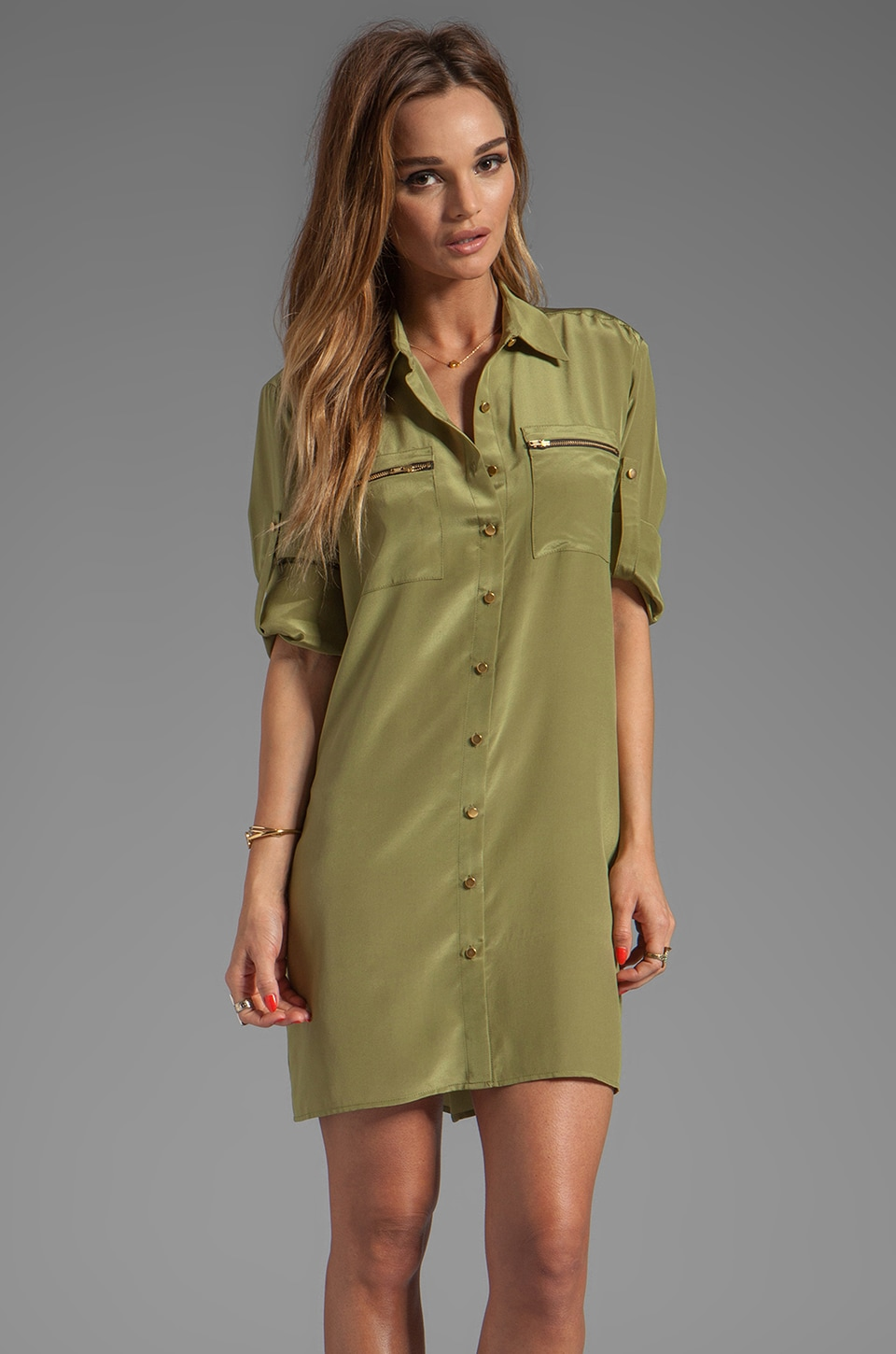 Amanda Uprichard Zip Pocket Dress in Olive