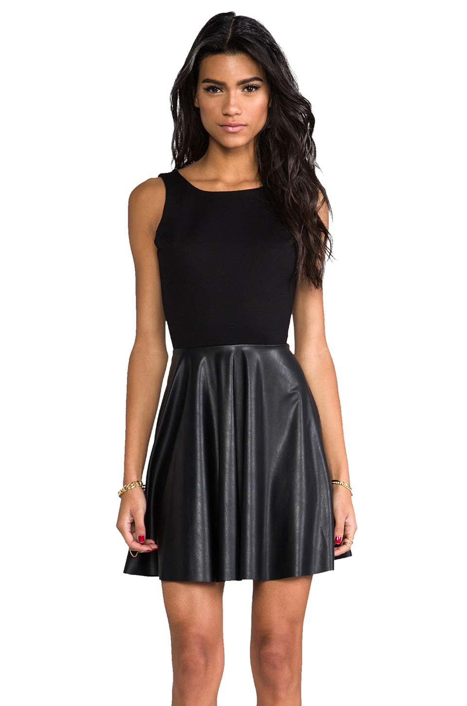 Amanda Uprichard Backless Skater Dress in Black & Black