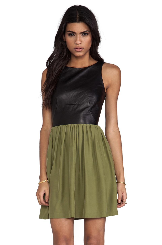 Amanda Uprichard Leather Martini Dress in Black/Olive