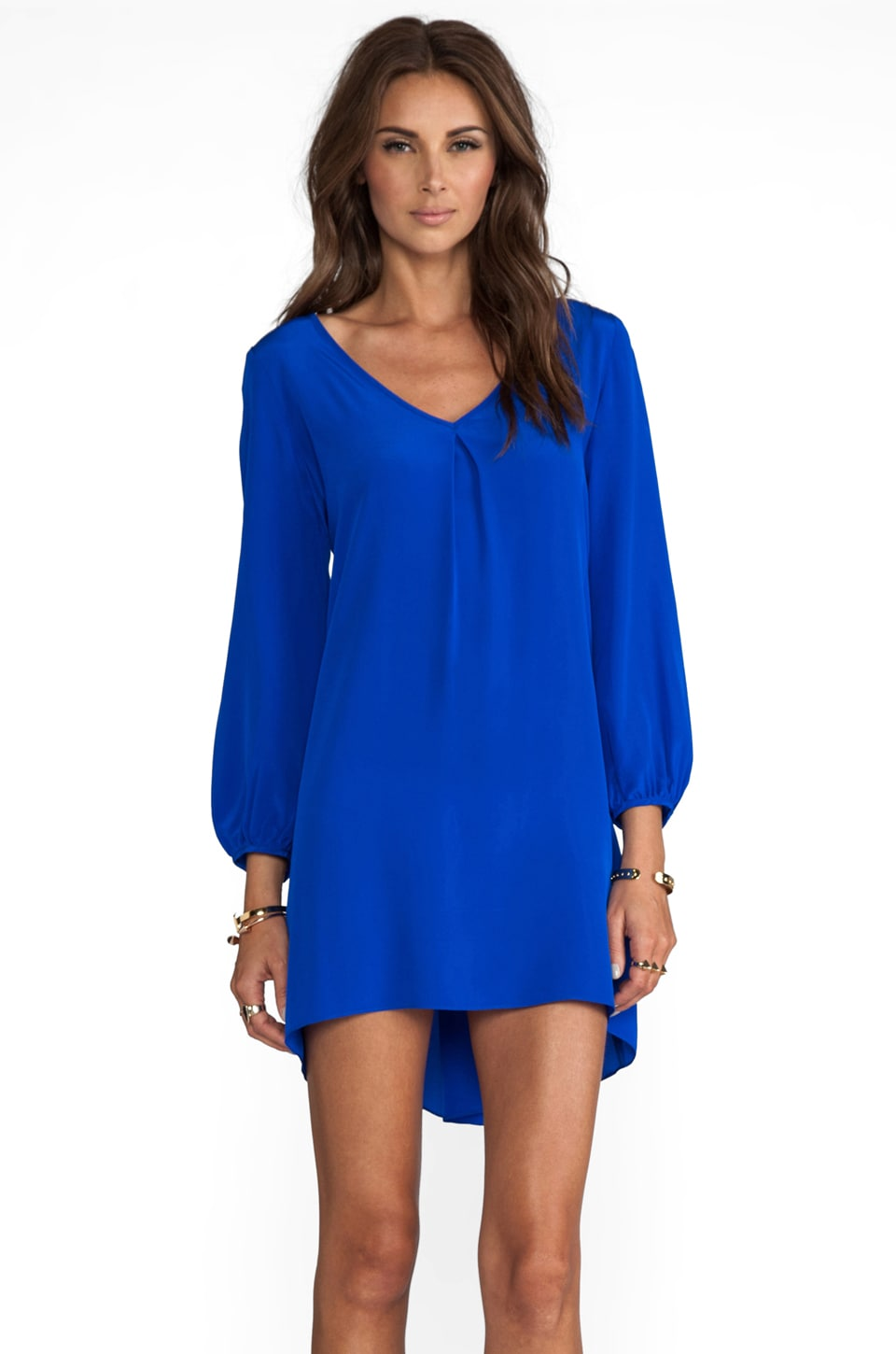 Amanda Uprichard Bardot Dress with Tiffany Sleeve in Royal