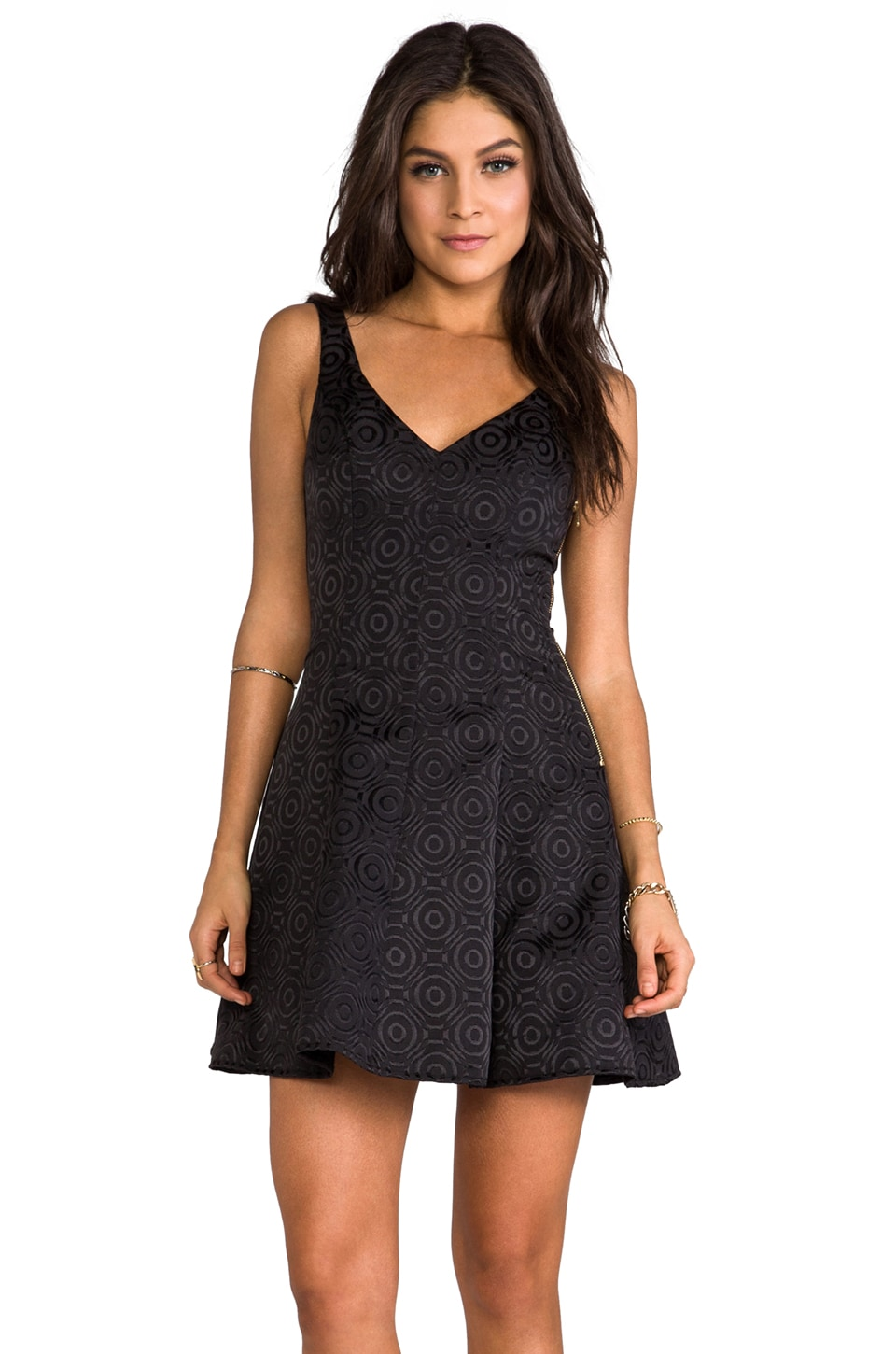 Amanda Uprichard Brocade Fit & Flare Dress in Black Floral