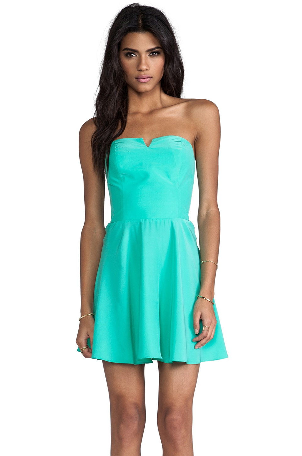 Amanda Uprichard Harper Dress with Bowery Skirt in Mint