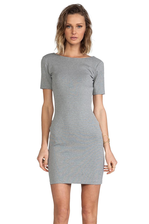 Amanda Uprichard Short Sleeve Column Mini Dress in Heather Grey