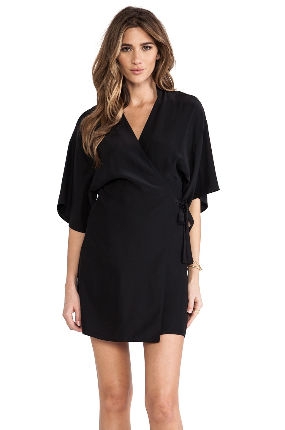 Amanda Uprichard Kimono Wrap Dress in Black