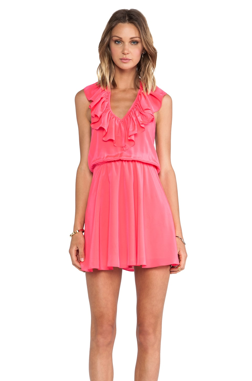 Amanda Uprichard Ruffle Halter Dress in Electric Rouge