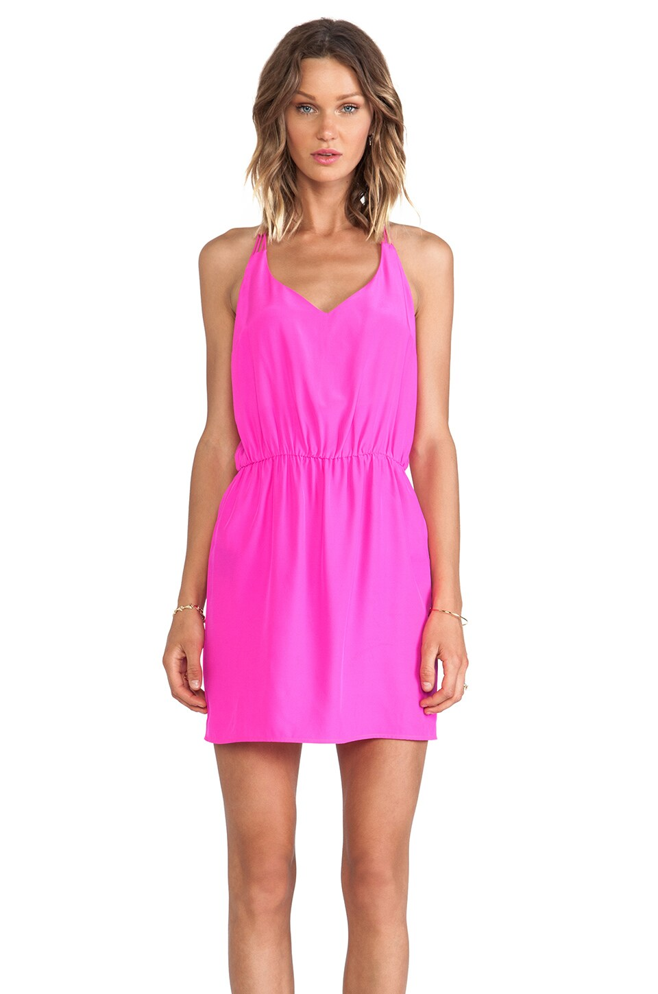 Amanda Uprichard Multi Strap Dress in Hot Pink