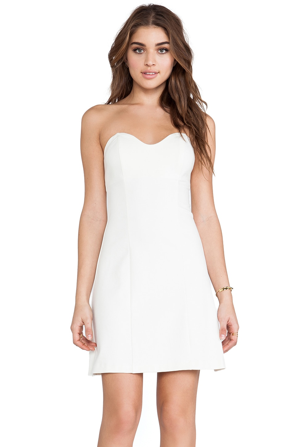 Amanda Uprichard Heart Bustier Mini Dress in Cream