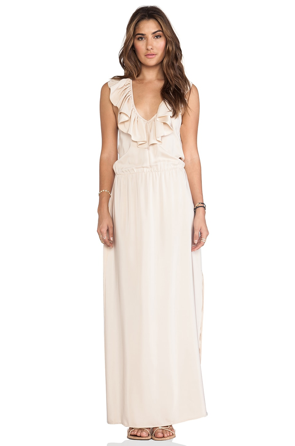 Amanda Uprichard Ruffle Halter Maxi Dress in Desert