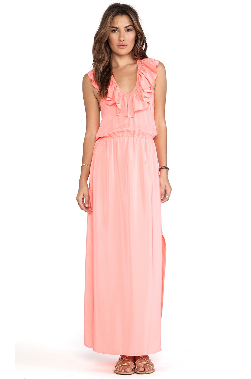 Amanda Uprichard Ruffle Halter Maxi Dress in Neon Ballet