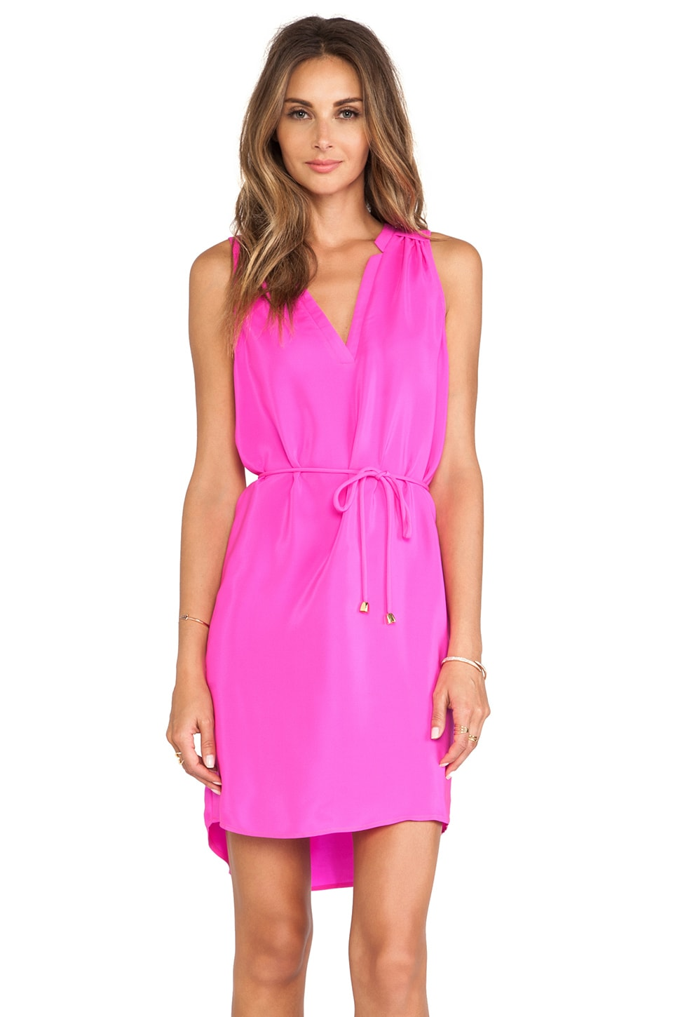 Amanda Uprichard Simon Sleeveless Dress in Hot Pink