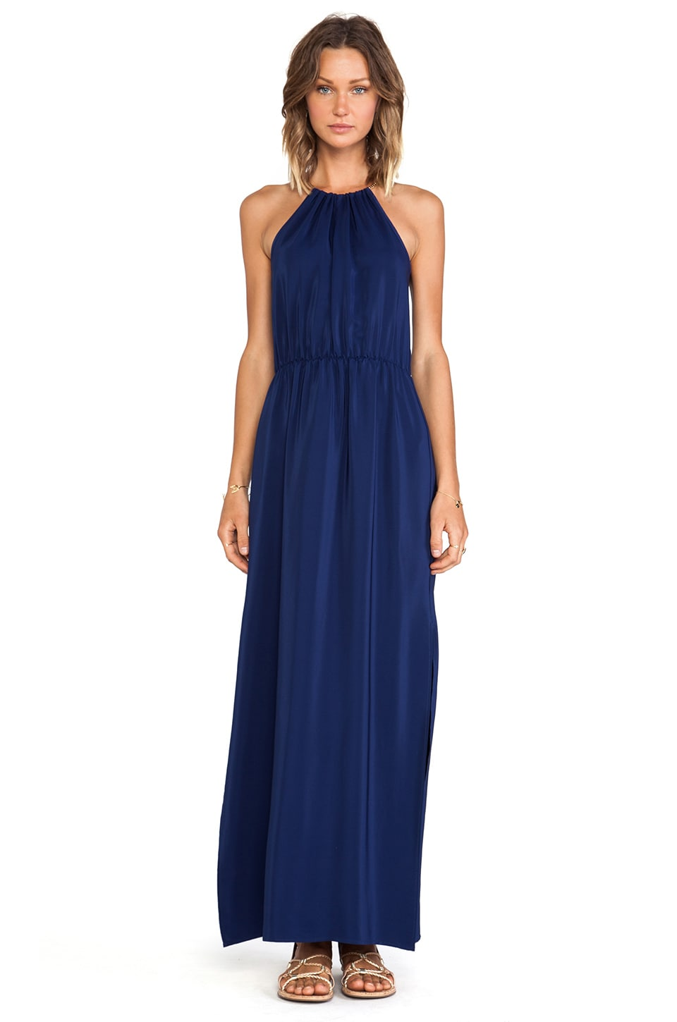 Amanda Uprichard Chain Neck Maxi Dress in Navy