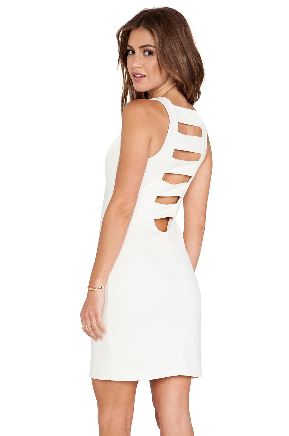 Amanda Uprichard Ponte Ladder Back Dress in Ivory