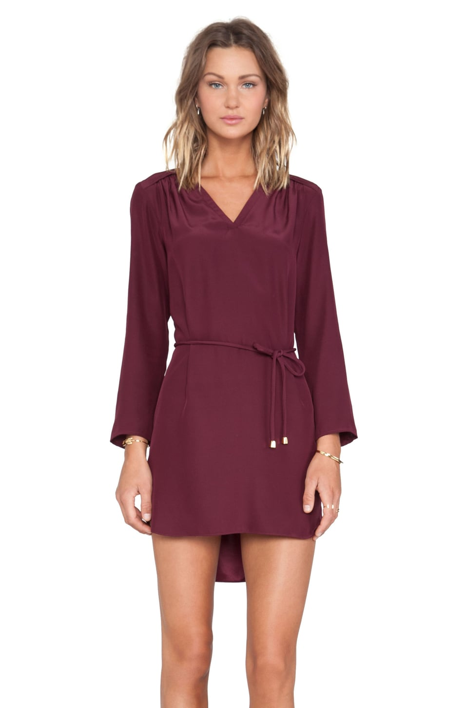 Amanda Uprichard Long Sleeve Simon Dress in Wine