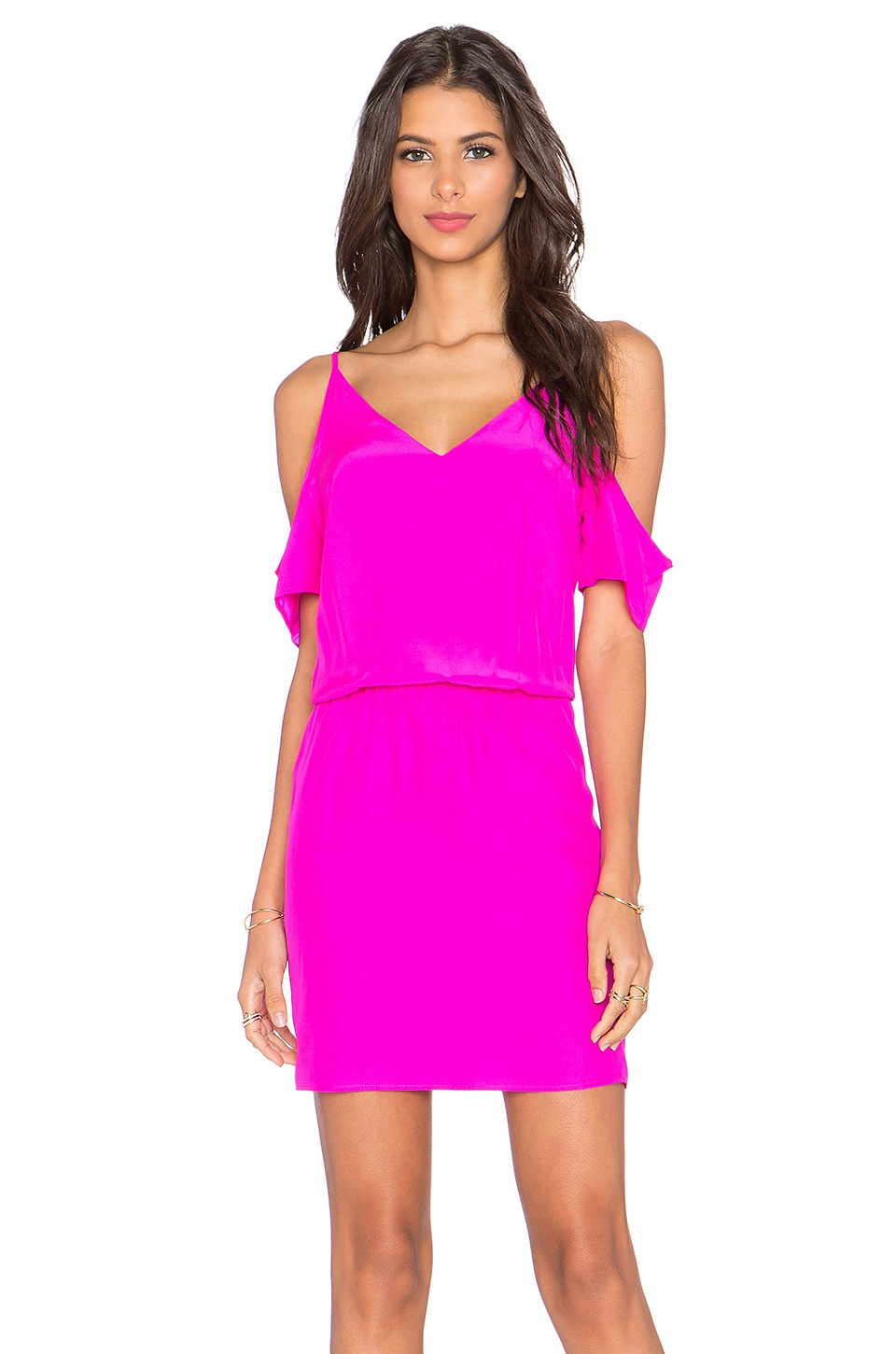 Amanda Uprichard Teagan Mini Dress in Hot Pink Light
