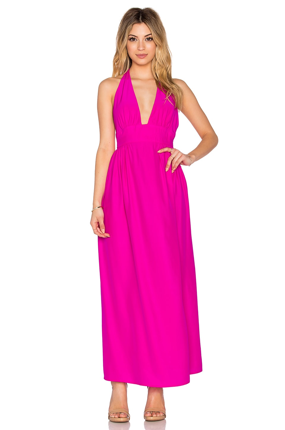 Amanda Uprichard Mercer Halter Maxi Dress in Hot Pink Light | REVOLVE