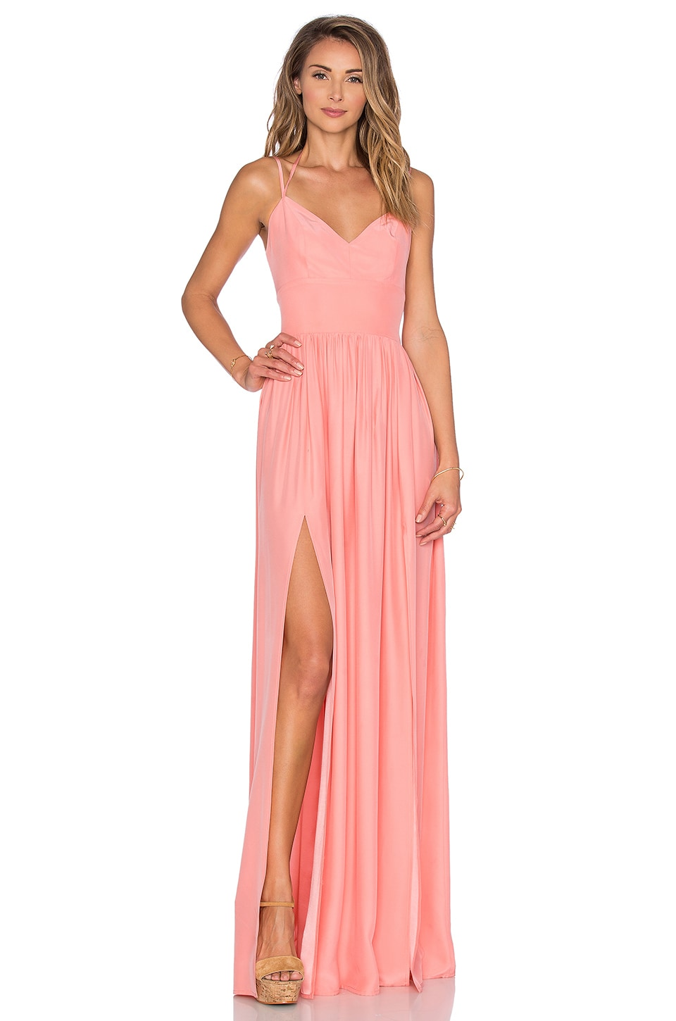 Amanda Uprichard Rio Maxi Dress in Peach
