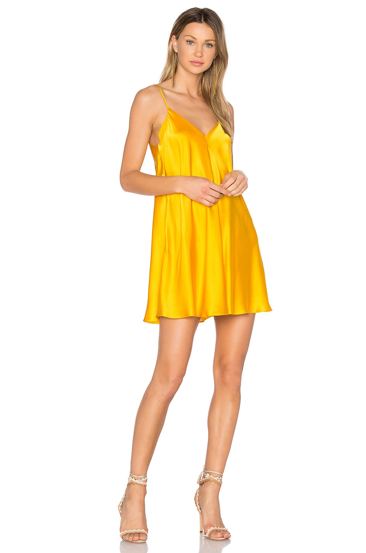 Amanda Uprichard Deep V Slip Dress in Marigold