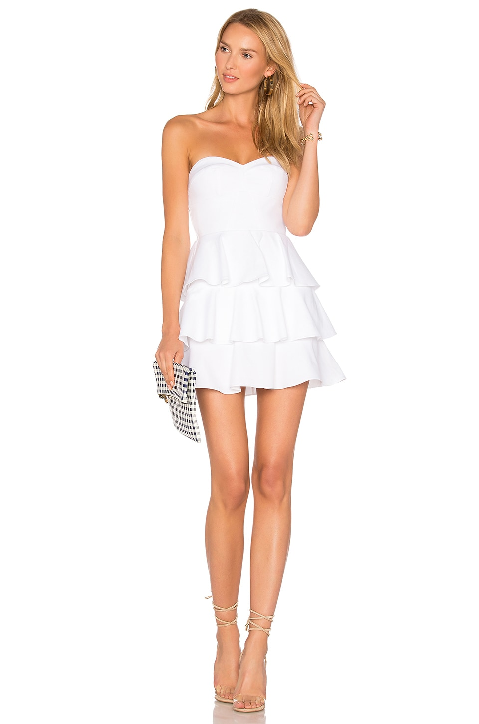 Amanda Uprichard Tiered Ruffle Dress in White Pique