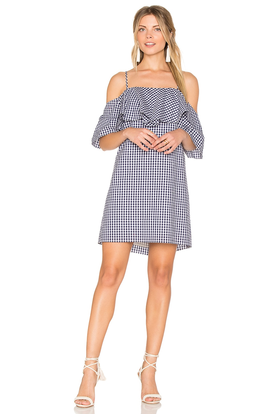 Amanda Uprichard Marise Dress in Navy Gingham