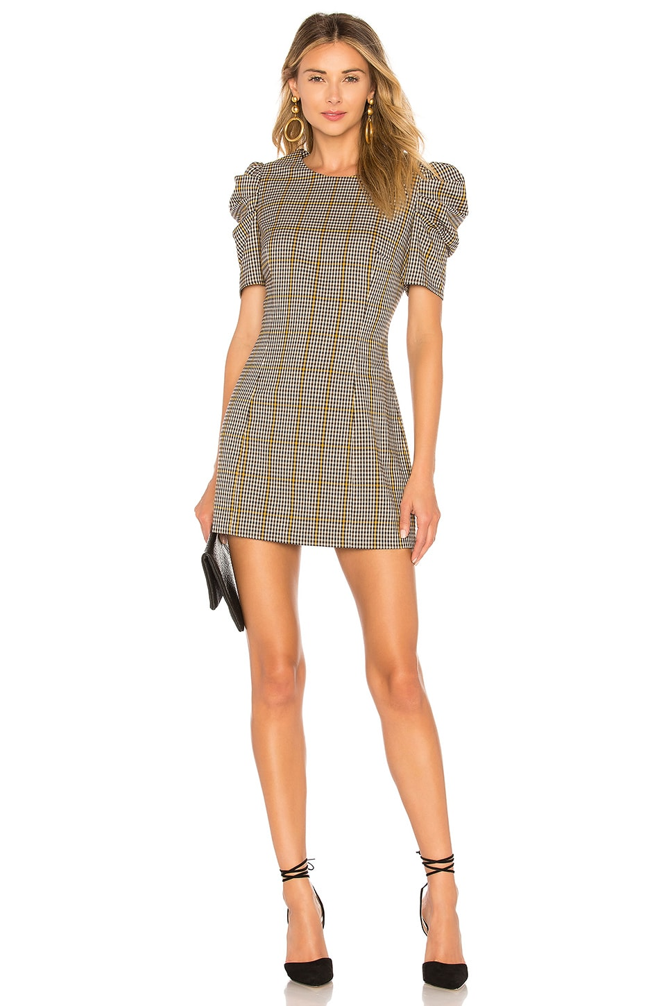 Amanda Uprichard Puff Sleeve Mini Dress in Westwick Plaid