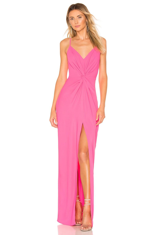 Amanda Uprichard Ellie Maxi Dress in Pink Lacquer