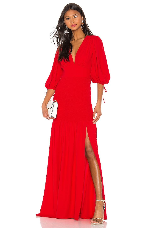 Amanda Uprichard Gala Maxi Dress in Lipstick