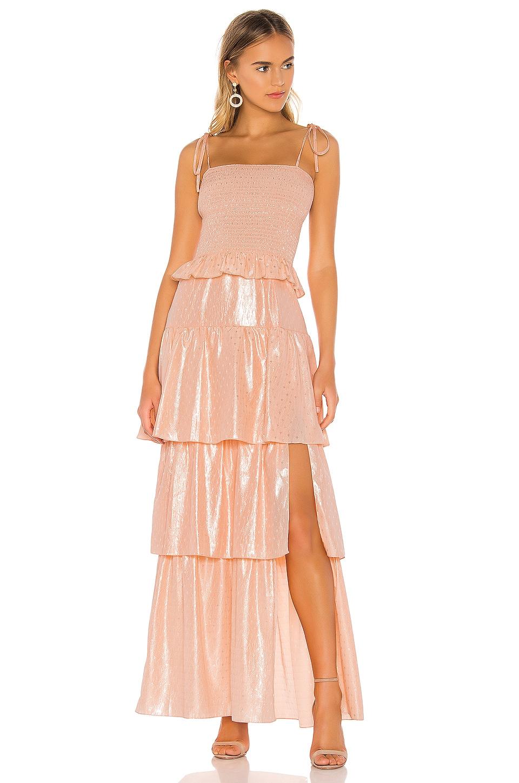 Amanda Uprichard Duchess Maxi Dress in Georgina Peach