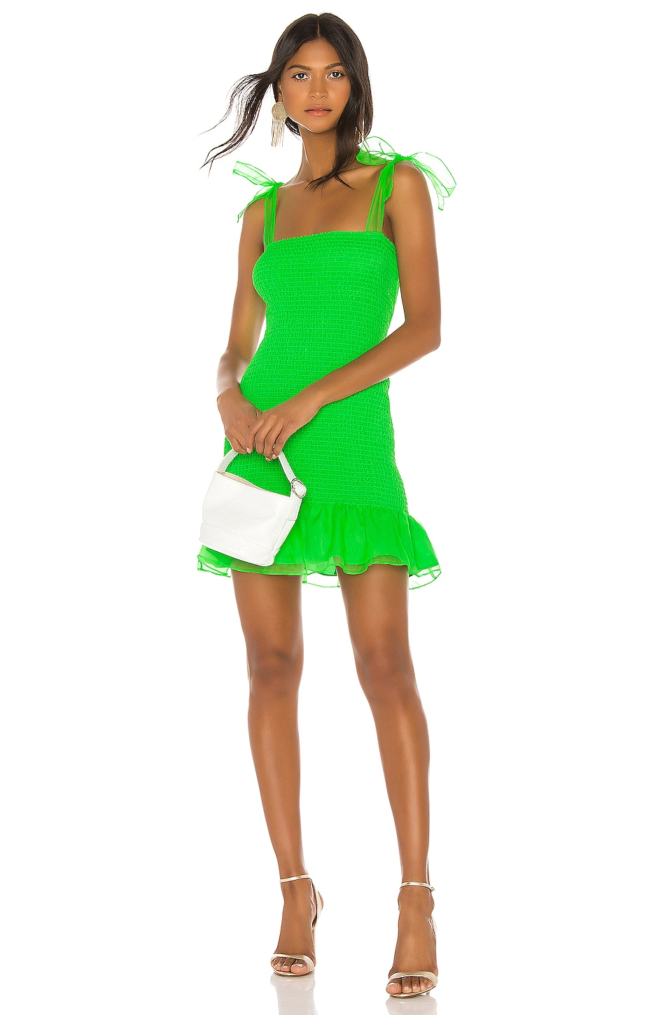 Amanda Uprichard Amara Smocked Mini Dress in Mojito Organza