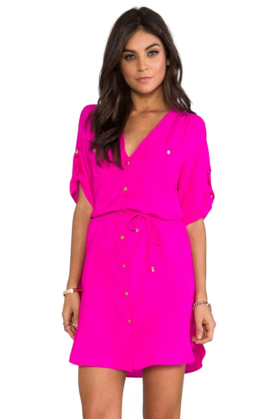 Amanda Uprichard Pocket Dress in Hot Pink