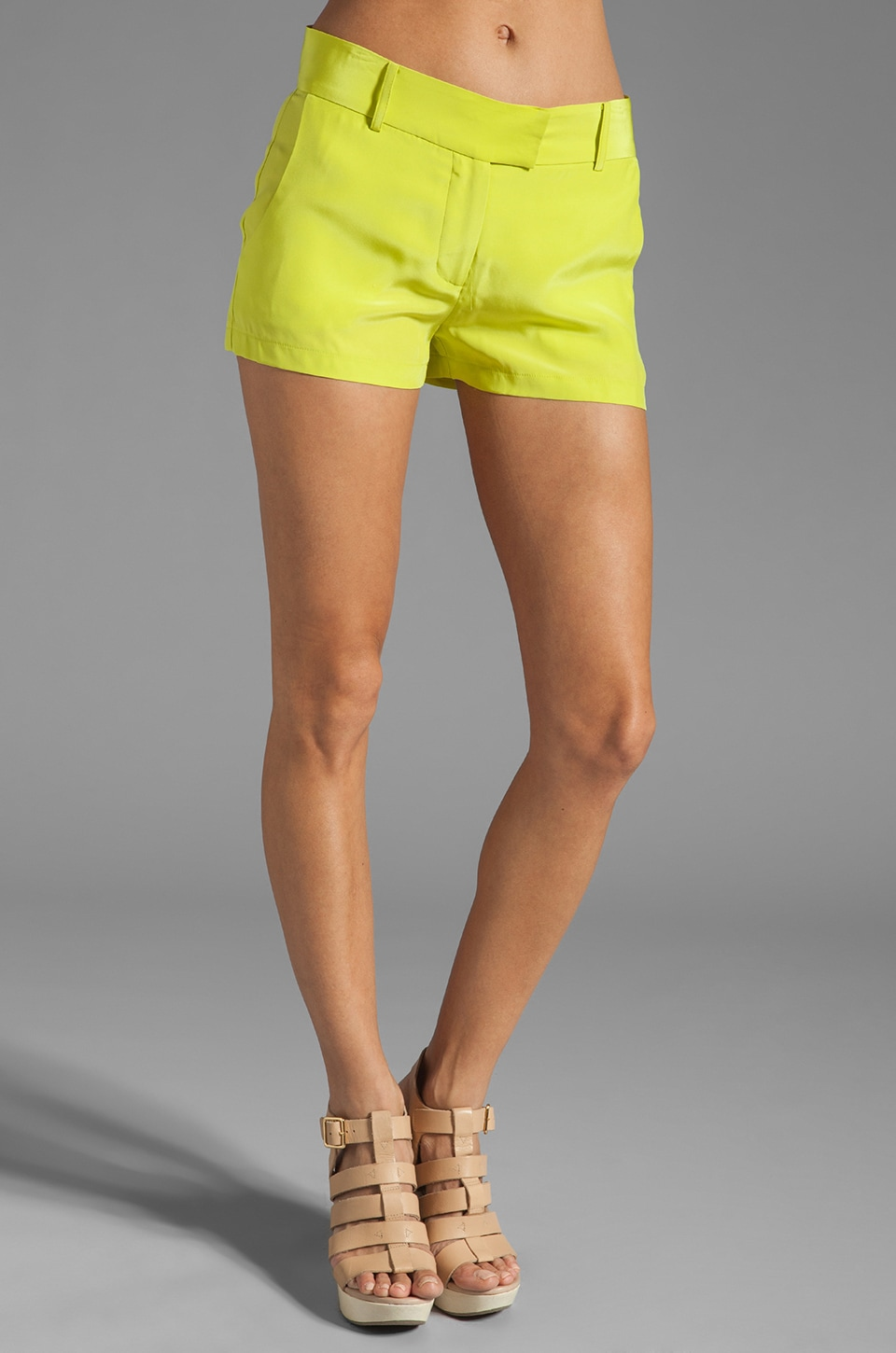 Amanda Uprichard Brooklyn Silk Short in Lime