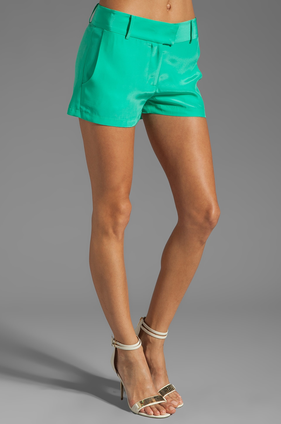 Amanda Uprichard Silk Brooklyn Short in Mint