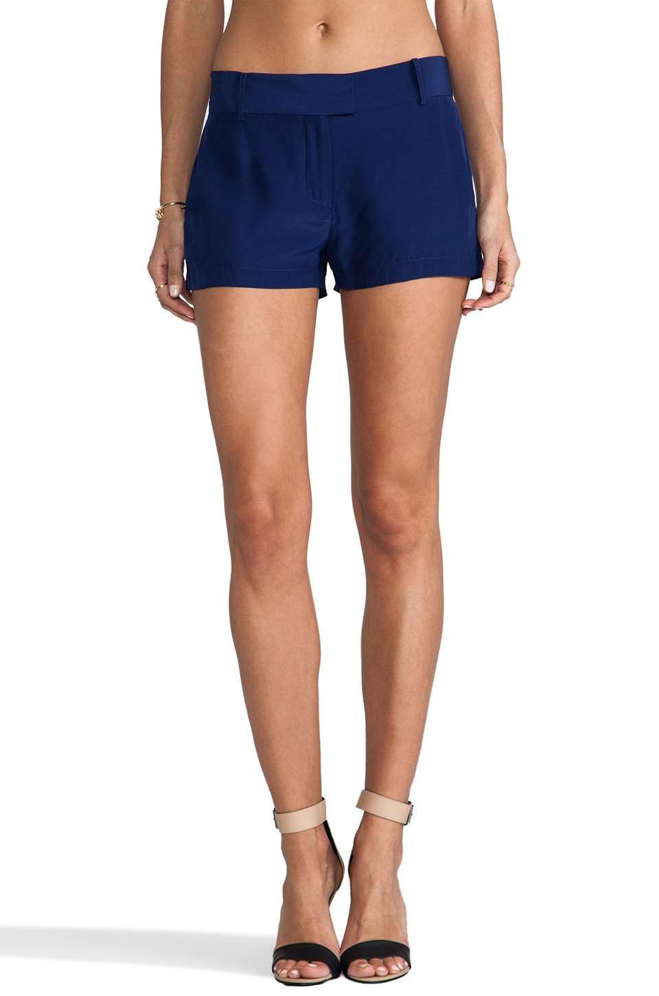 Amanda Uprichard Silk Brooklyn Short in Navy