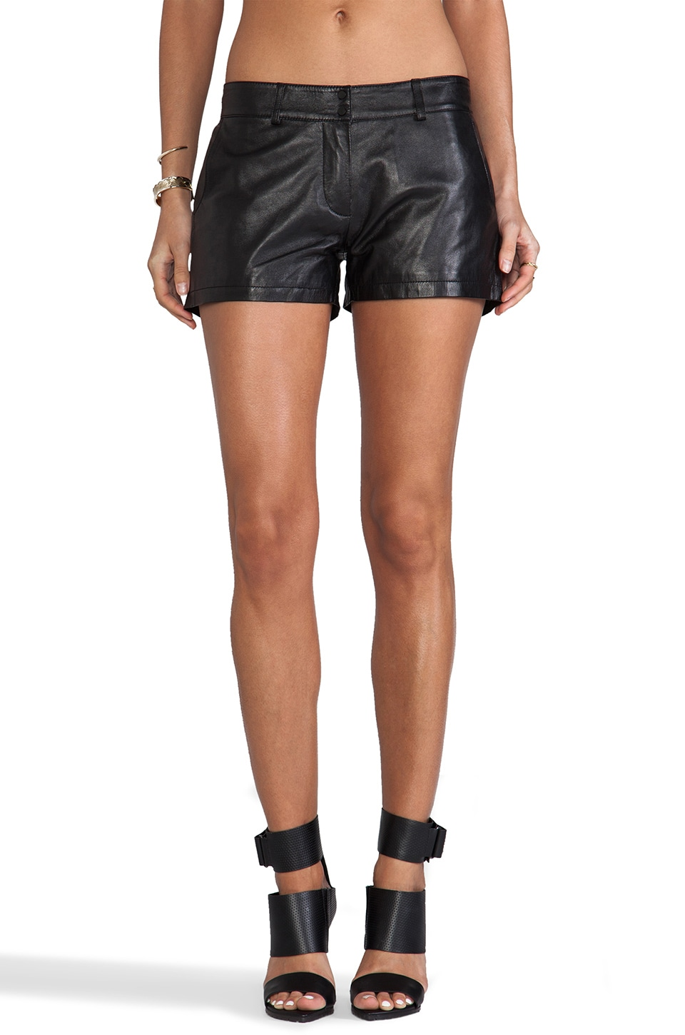 Amanda Uprichard Leather Shorts in Black