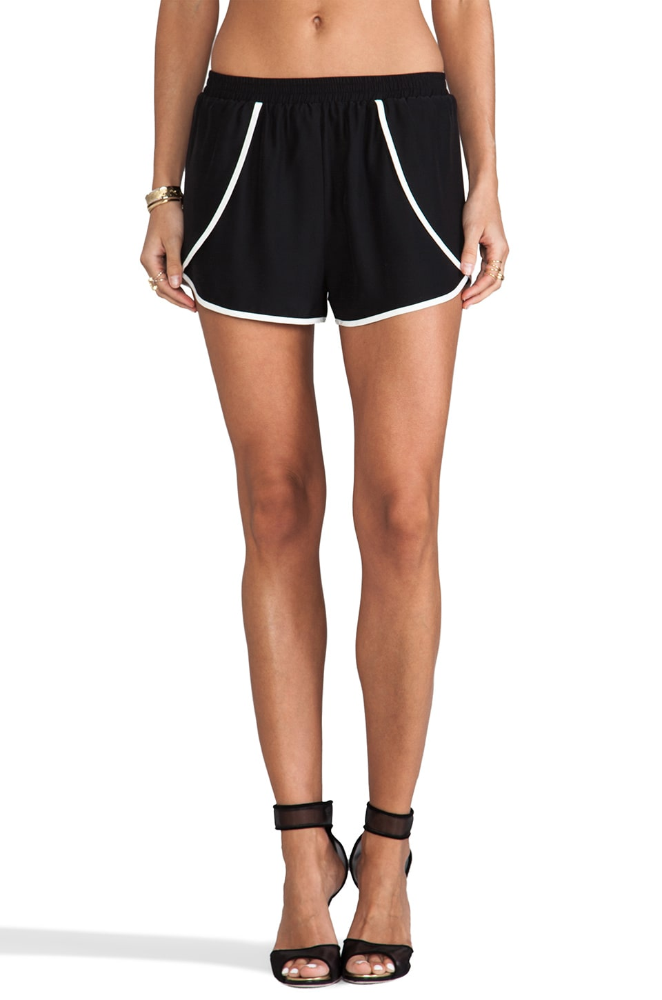 Amanda Uprichard Track Shorts in Black & White