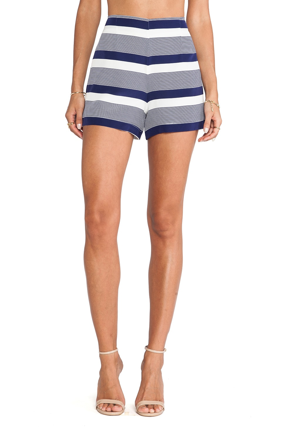 Amanda Uprichard High Waisted Shorts in Navy Stripe