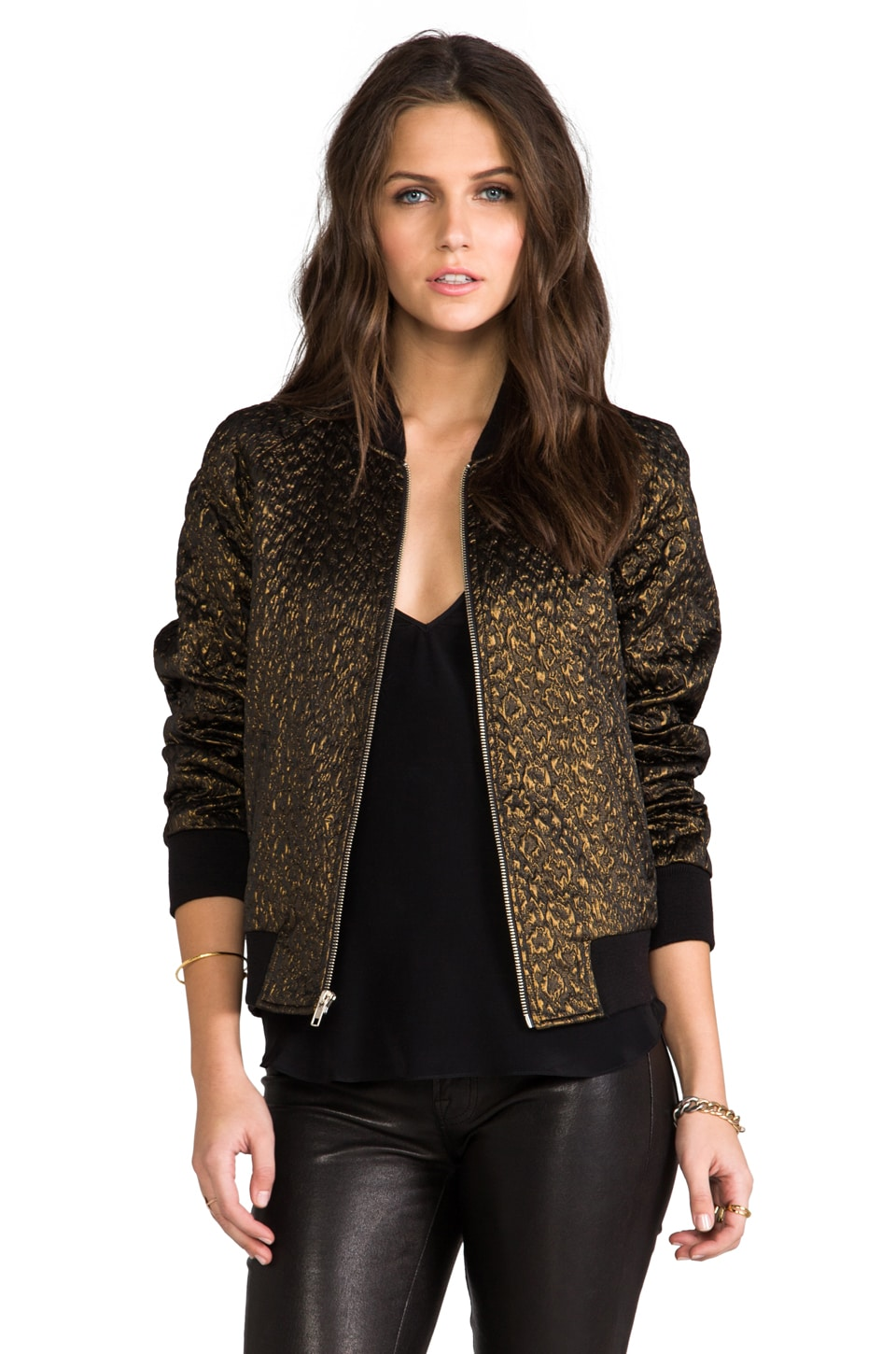 Amanda Uprichard Bomber Jacket Brocade in Leopard