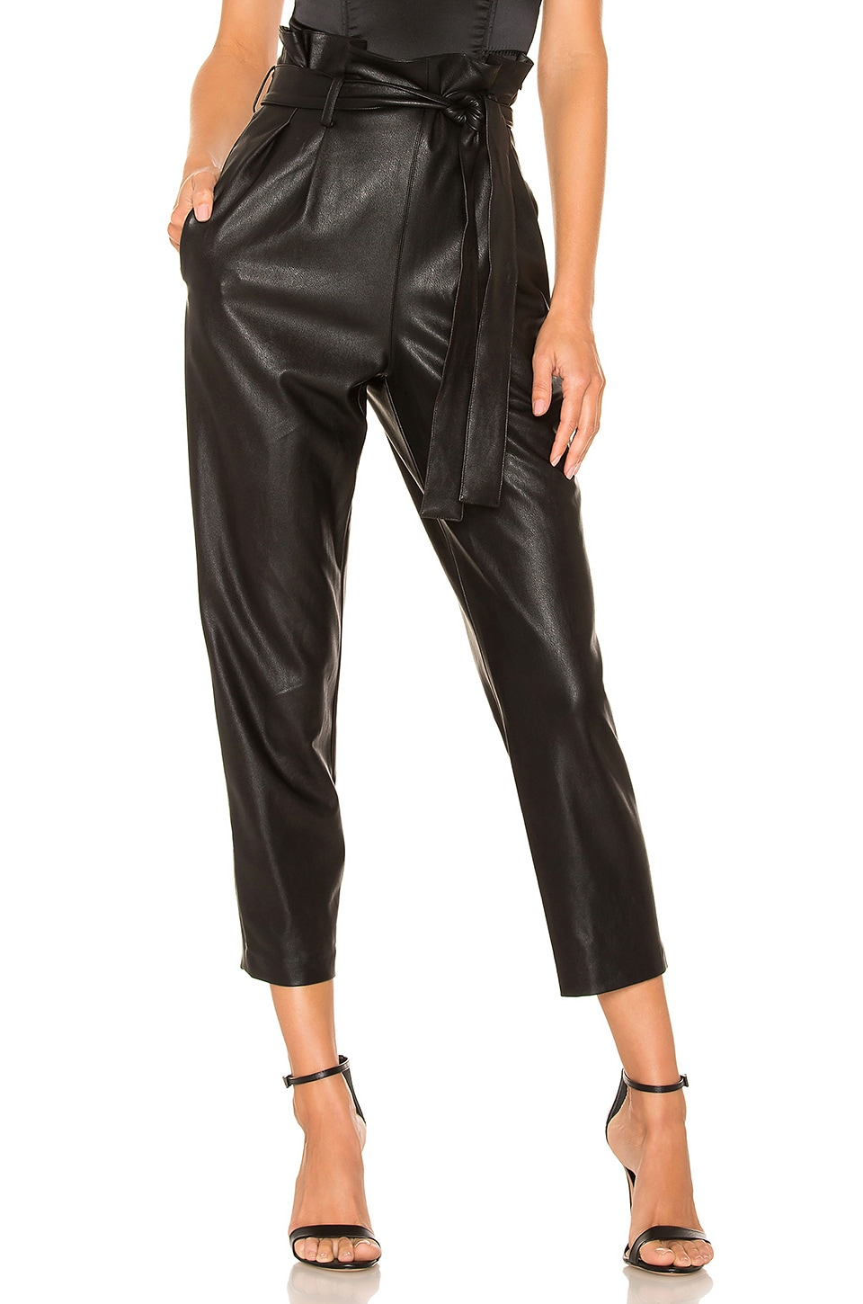 Amanda Uprichard Tessi Faux Leather Pant in Black