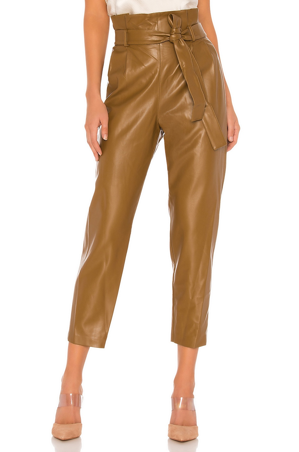 Amanda Uprichard Tessi Faux Leather Pant in Tan Leather