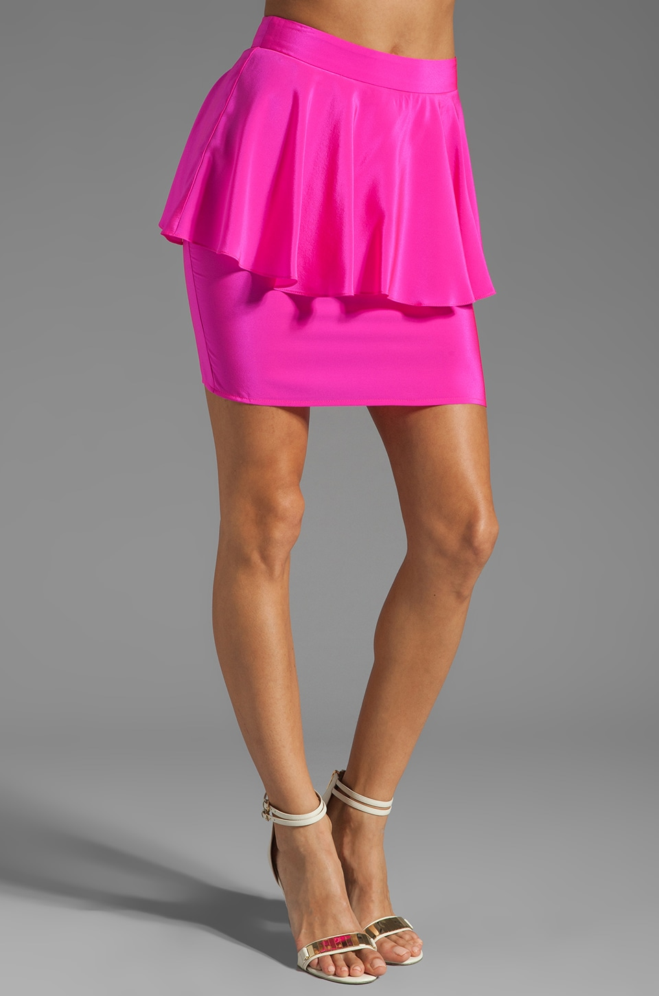 Amanda Uprichard Silk Peplum Skirt in Hot Pink