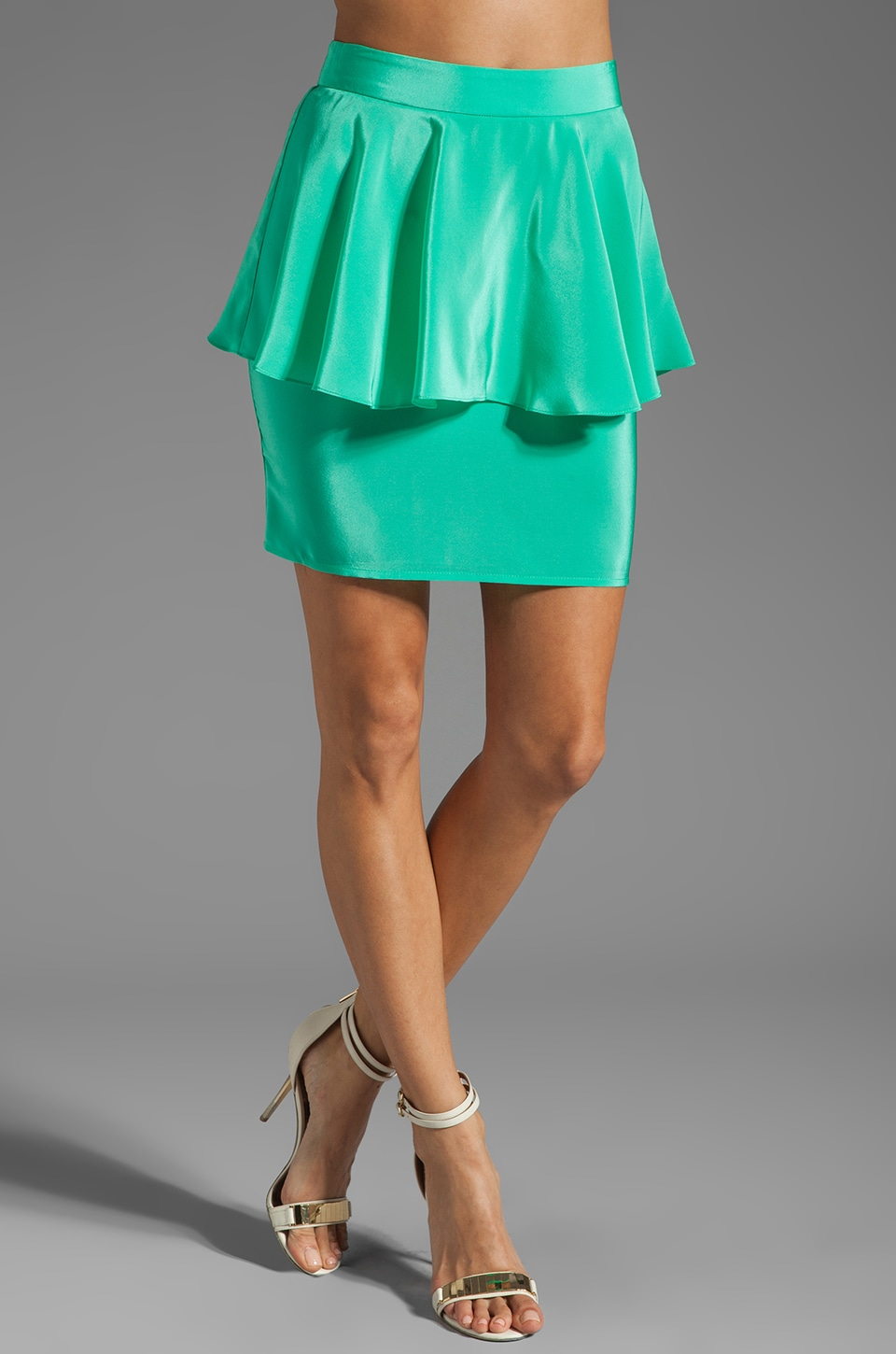 Amanda Uprichard Silk Peplum Skirt in Mint