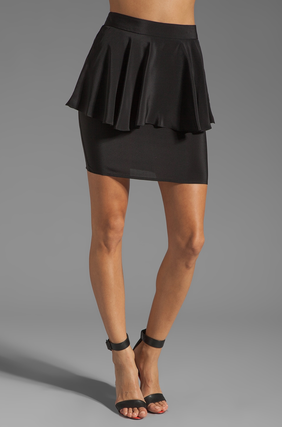 Amanda Uprichard Silk Peplum Skirt in Black