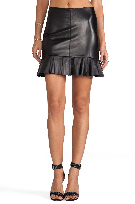 Amanda Uprichard Leather Ruffle Mini Skirt in Black
