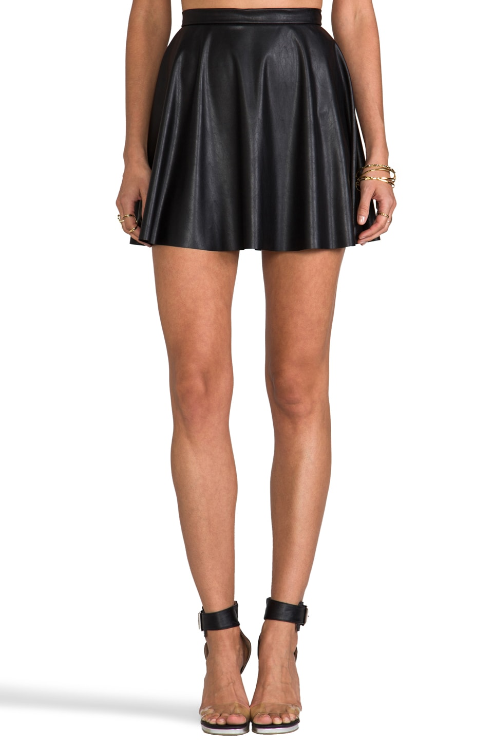 Amanda Uprichard Vegan Leather Circle Skirt in Black