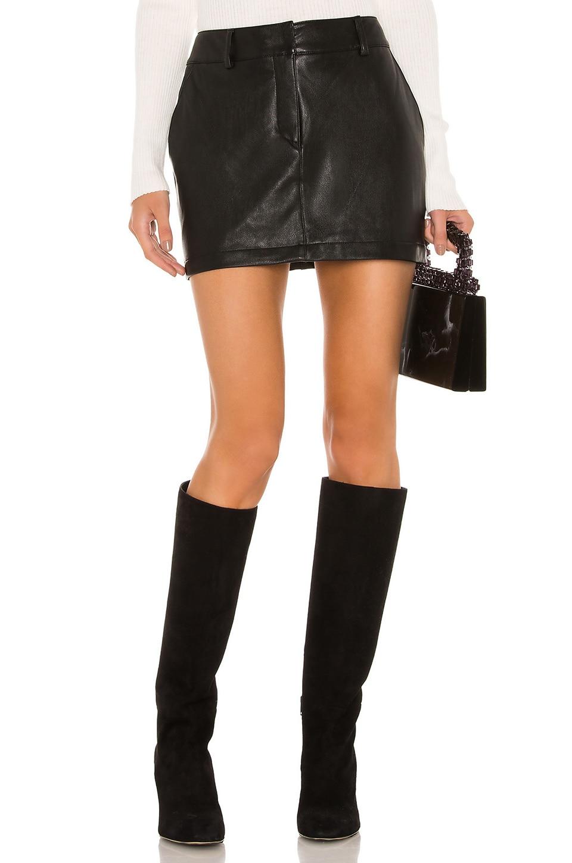 Amanda Uprichard X REVOLVE Brooklyn Skirt in Black Leather