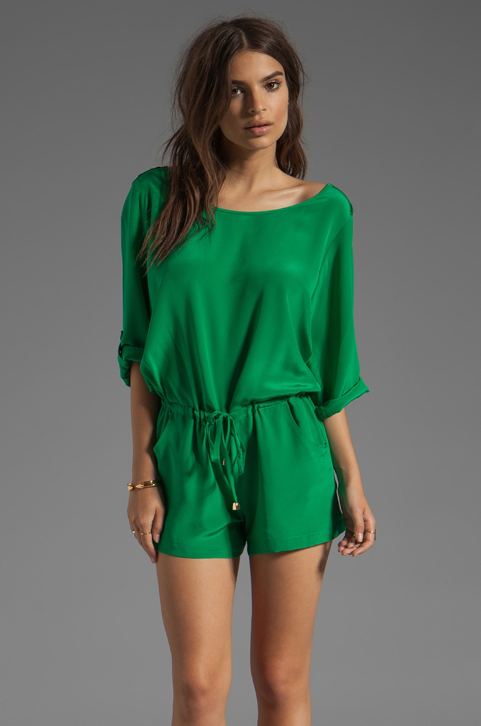 Amanda Uprichard Bailey Romper in Green