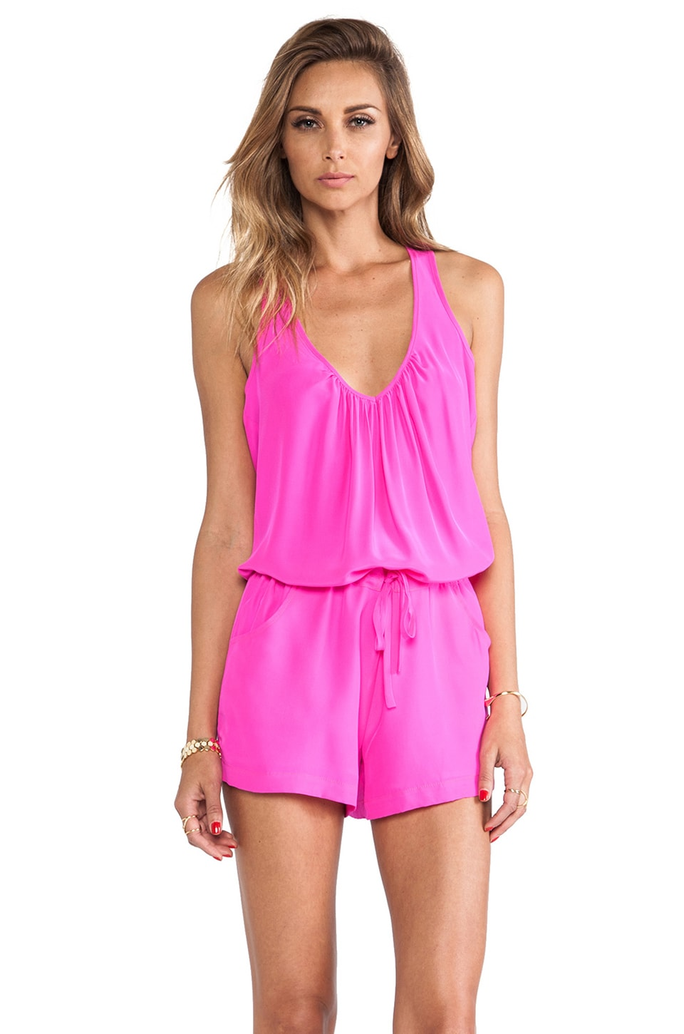 Amanda Uprichard EXCLUSIVE Button Back Romper in Hot Pink